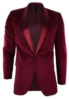 Mens Burgandy Maroon Velvet Shawl Round Collar Tuxedo Blazer Jacket Slim Fit