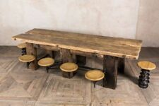 RUSTIC KITCHEN DINING TABLE ATTACHED SEATS SWING-OUT STOOLS INDUSTRIAL STYLE