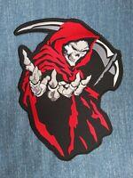 """Red Cloak Demon Death Reaper Biker Skull Big Back Jacket Vest Patch 10/""""//25cm"""