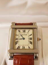 Cartier Paris 925 Gold Silver Toned Cartier Leather Band Mens Standard Watch