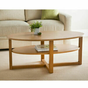Oval Shaped Oak Solid Wood Finish Coffee Table With Under shelf Living Room 0090