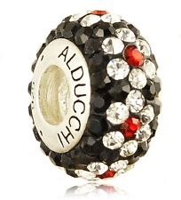 Alducchi Ruby Red-Black-Clear Swarovski .925 Sterling Silver European Charm Bead