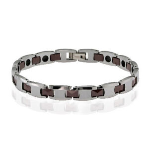 Tungsten Brown Color Plated Men's Tennis Bracelet 8""