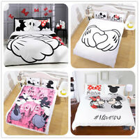 Disney Kids Bedding Set Mickey Minnie Mouse Love Duvet Cover Pillow Cases 3PCS