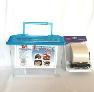 Tom pla house aquarium Fish Tank Hermit crab cage Bugs with cover Includes Light