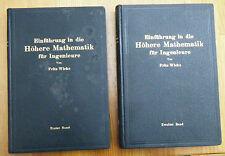 Wicke Einführung in die Höhere Mathematik für Ingenieure 2 Bände Fachbuch 1927