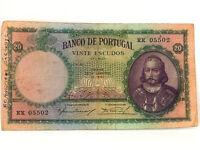 WW2 Banco de Portugal 1941 Vinte 20 Escudos Currency Bank Note Banknote