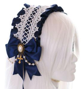 C-04-1 Blau Zofe Maid Lolita Haarband mit Schleife Perlenkette Gothic Kopfband