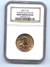 2001-P -SACAGAWEA DOLLAR ($1) CURVED CLIP-NGC- MS66 -RARE-MINT ERROR-