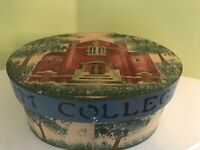 """.Vintage  Bentwood Decorative Oval Hand painted Muskingum College 8"""" X 6""""  Box"""