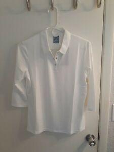 Women Callaway Golf 3/4 Short Sleeve Opti dri Shield Polo White Medium NWT