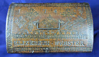 ANTIQUE GEO ll LEATHER COVERED DOME-TOP BOX DATED 1749 WITH OWNERS NAME