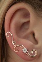 Estate 1/2 ctw Diamond Ear Climber  Ear Crawler Earring 14k Two Tone Gold Over