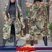 US Women Mid-length Pocket Camouflage Print Jacket Coat Windbreaker Jacket Tops