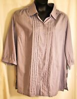 women's ONLY NECESSITIES light purple 3/4 sleeves blouse size 1X 100% cotton