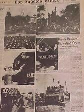 VINTAGE NEWSPAPER HEADLINE ~WALT DISNEY DISNEYLAND FANTASY AMUSEMENT PARK OPENS