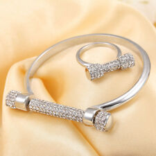 Women Silver Plated D Shape Bar Screw Crystal bracelet bangle with crystal ring