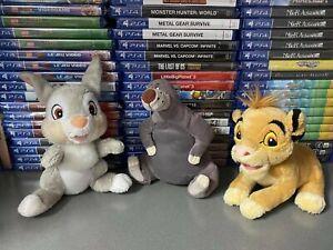 Lotto 3 Peluches Originali Disney 15 cm circa Simba Re Leone Baloo Thumper Bambi