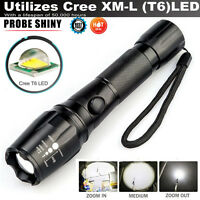 New 5000LM CREE T6 LED Torch Zoomable Military Police Flashlight Lamp FREE 18650