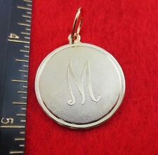 """14 KT GOLD EP LARGE(OVER 1"""") ROUND INITIAL DISC LETTER M PENDANT CHARM"""