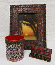 Hand Crafted Glass Marble Mosaic Desk Set Picture Frame Card Holder Pencil Cup