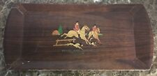 Vintage Wood Hasko Chicago Lithographed Tray Foxhound Hunting Dutch Maid Bakery
