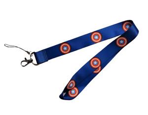 Captain America Lanyard Stainless Steel Key Ring Handmade Cell Phone Lanyard