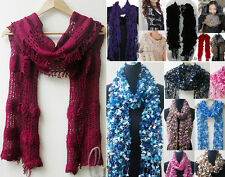 WHOLESALE BULK LOT OF 20 MIXED STYLE COLOUR Warmer Winter Knit Scarf Shawl Wrap