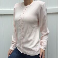 DRESSBARN Women's Blouse Sequins Embellished Light Pink w Shoulder Pads Size S