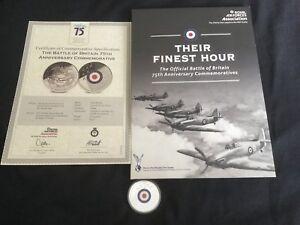 Their Finest Hour Battle Of Britain 75th Coin Folder COA RAF MINT LTD ED No.8386