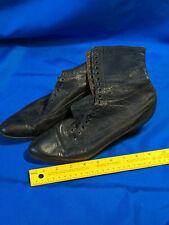 "Antique Victorian Lace-Up Boots Shoes Leather Canvas Black VTG 1235 Nice 10"""