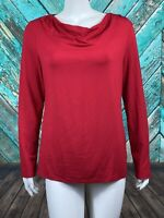 Talbots Women's Top Medium Solid Red Cowl Neck Long Sleeves Stretch