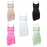 Women's Sexy Ruched Side Asymmetrical Cowl Neck Bodycon Strappy Mini Party Dress
