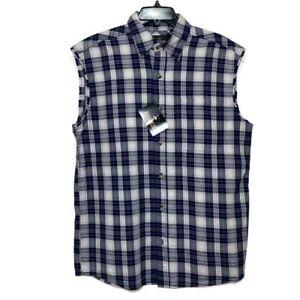 RedHead Men's Medium Outdoor Blue Pocket Sleeveless Button Down NWT