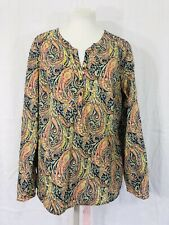 Liberty Art Fabrics Popover Tunic Top Womens XL Paisley Long Sleeved With Tabs