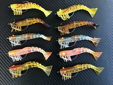 "10x 3"" Weedless Live Shrimp Prawns Lure Bait Jig heads Fishing Jighead Bream"