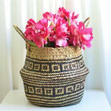 Folding Seagrass Belly Basket Garden Plant Flowerpot Home Laundry Storage Holder