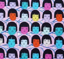 Fast Friends BTY Juliana Horner FreeSpirit Girls Head Face Black Bangs Pink