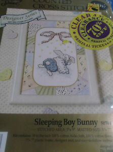 "CROSS STITCH KIT SLEEPING BOY BUNNY DESIGNER SERIES 5"" X 7"" WITH FRAME MAT BABY"