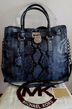 AUTHENTIC MICHAEL KORS LARGE 'HAMILTON' PYTHON DENIM LEATHER SATCHEL RRP $530 AU