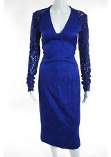 RACHEL ROY Blue Embroidered Damask Lace Detailed Cocktail Dress Sz 4