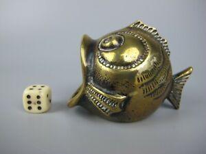 Unusual vintage antique fish shaped brass Salt Cellar Pot / Trinket or Coin Box.
