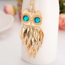 """Goldtone OWL with Blue Jewel Eyes & Leaf Feathers 3 3/8"""" x 1 3/8"""" with 28"""" Chain"""