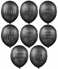 Abusive Balloons 24 Pack Pessimistic Funny Black Birthday Party Balloons