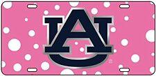 AU Auburn Tigers Laser Cut Blue AU logo Pink Polka Dot  License Plate / Car Tag