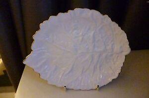 VINTAGE RARE SPODE Savoy White (Gold Trim) Leaf Dish - Pristine 19 cm L