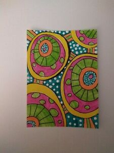 """ACEO #1505 Abstract #1553 -  Orig. Contemporary Art 2.5""""x3.5""""Signed 2020"""