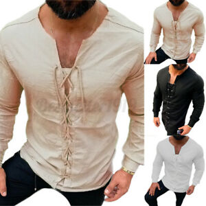 INCERUN Mens Medieval V Neck T shirt Muscle Blouse Lace Up Long Sleeve Tee Tops