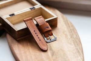 handmade vintage style 24mm distressed tan leather watch strap GPF fits panerai
