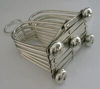 RARE SILVER PLATED SIX SLICE CAMPAIGN FOLDING TOAST RACK 1910  ANTIQUE